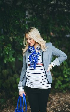Fall maternity fashion. Blazer and scarf finish this outfit off.