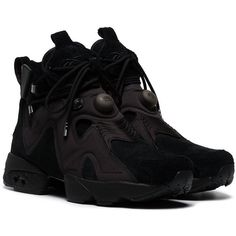 Reebok Reebok x Future Furikaze trainers ($345) ❤ liked on Polyvore featuring men's fashion, men's shoes, men's sneakers, mens black shoes, mens black sneakers and reebok mens shoes