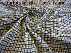 Fabcrafts : Acrylic Check Tartan Fabric - Beige Check - 10 meter - £35.00