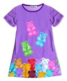 This Purple & Turquoise Gummy Bear Shift Dress - Toddler & Girls is perfect! #zulilyfinds