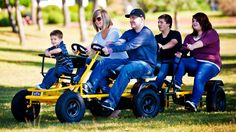 Made in the USA Prime Karts. 3 and 4 Wheel bike commercial quality models for kids through adults. The Roadster is a fun pedal car that allows up to 2 people pedaling and 2 kids in the front seat kit. You can also attach up to 5 Caboose pedal carts behind the Roadster to make a train.
