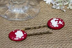 Deep Red Polymer Clay Applique Cabochon by KnickNatsCrafts on Etsy, Washer Necklace, Polymer Clay, Applique, Hair Accessories, Deep, Etsy, Jewelry, Jewlery, Bijoux