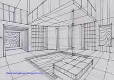 draw a room with a curve wall in two point perspective | SKETCH & DRAW