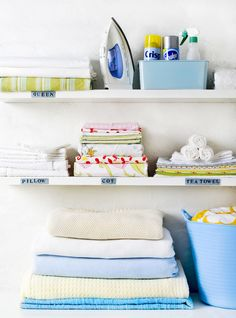 16 Laundry Room Organization Ideas: Hacks, Products & Photos   Apartment Therapy Small Linen Closets, Small Laundry Rooms, Laundry Area, Laundry Closet, Laundry Tips, Laundry Room Organization, Organization Ideas, Storage Ideas, Laundry Storage