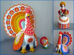 Various kinds of Dymkovo toys - painted clay toys from the Russian village Dymkovo. Three cocks and a lady with kids. #folk #art #Russian #toys