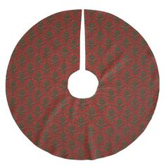 Red & Green Christmas Damask Brushed Polyester Tree Skirt