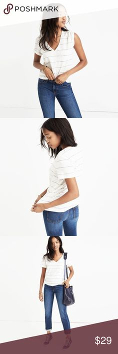 MADEWELL whisper v-neck pocket tee in prine stripe PRODUCT DETAILS It's no secret, our best-selling V-neck tee is the kind of forever favorite you'll want in every color. Fashioned of light and airy slub cotton, this pocket T-shirt is live-in-it soft and perfectly draped—one to tell your friends about, in other words.  True to size. Size up for a slouchy fit. Cotton. Machine wash. Good used condition Madewell Tops Tees - Short Sleeve