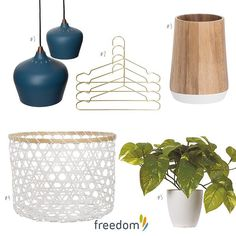 A few of our favourite pieces to add a touch of blue gold white and blonde wood to your home this season  we'd love to see how you style your home this season. Simply tag @freedom_nz #stylebyfreedom and we will share our favourites. You can see more of this look on our blog today. ----- #1 Zacharia Ceiling Pendant Large in Petrol Blue $149 #2 Hollywood Coat Hanger Set of 4 in Gold Colour $19.95 #3 Dale Tumbler in Acacia $24.95 #4 Lien Basket Large in White $24.95 #5 Foliage Potted Pothos in…