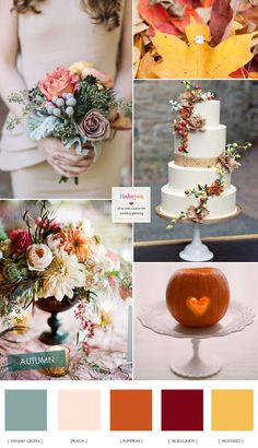 Pumpkin Peach and burgundy wedding  - Autumn Wedding Colour Palette