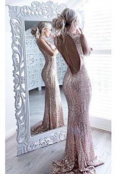Rose Gold Long Sleeve Sequin Mini Dress - Stella Dolls
