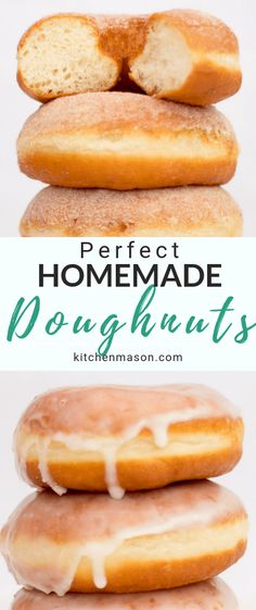 Learn how to make PERFECT homemade doughnuts with this easy step by step recipe! A worldwide classic, doughnuts are perfect for any occasion. Homemade Doughnuts Easy, Homemade Doughnut Recipe, Homemade Pancakes, Homemade Desserts, Donut Recipes, Cooking Recipes, Amish Recipes, Dutch Recipes, Cheap Meals