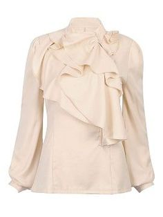Shop High Neck Shirt With Ruffle Front from choies.com .Free shipping Worldwide.$18.9