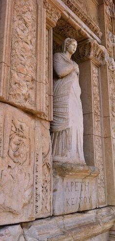 Ruins of the Celsus Library in Ephesus, Kusadasi.