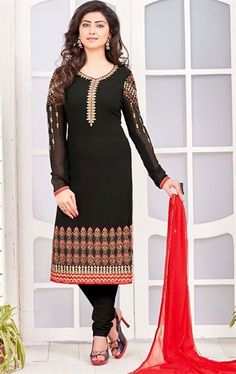 Tangerine Black Ethnic Salwar Suit