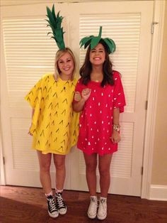 Instagram @madsfo7 @mmmcbride DIY pineapple and strawberry costume