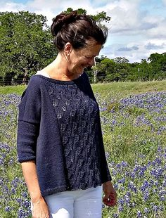 Bluebonnet by Martha Wissing. A lovely, relaxed, lace-front pullover perfect for our elann.com Joie De Vivre DK.