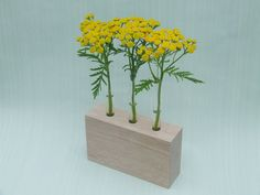 Wooden Bud Vase with glass test tubes by MartinGallagher on Etsy, €36.00