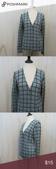 "LOFT Blue Black Light Weight Cardigan L Brand: Ann Taylor LOFT Size: L Material: 100% Cotton Care Instructions: Machine Wash  Bust: 38"" Sleeves: 24"" Length: 23""  All clothes are in excellent used condition. No tears, stains or holes unless otherwise I noted.   P23 LOFT Sweaters Cardigans"