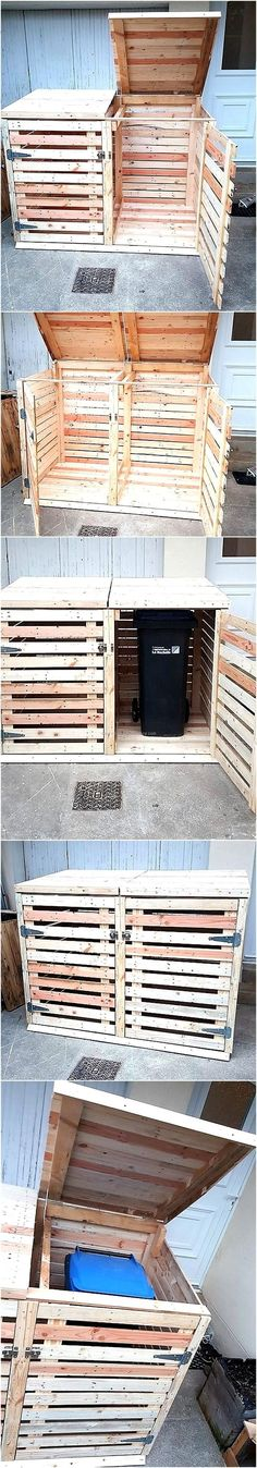 Unique idea for covering the trash can made from wooden pallets