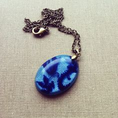 Blue Lace Resin Necklace Resin Pendant Resin by lowelowejewelry, $24.00