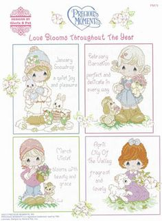 Designs by Gloria and Pat PM78 Mi Familia - Precious Moments Cross Stitch Pattern - 123Stitch.com