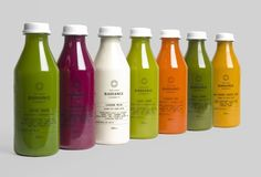 Radiance cold-pressed fruit juice packaging designed by Construct.