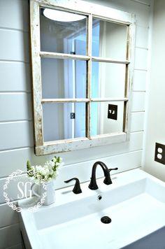 FARMHOUSE POWDER ROOM REVEAL-window pane mirror-stonegableblog.com