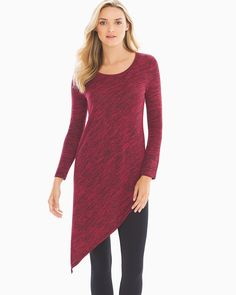 Soma Melange Asymmetrical Tunic Black/Ruby, Size: S, Black/Ruby Black Ruby, Fashion Essentials, Style Essentials, Easy Wear, Stitch Fix, Scoop Neck, Tunic Tops, How To Wear, Angles