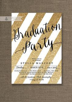Gold & Black Graduation Party Invitation Gold by digibuddhaPaperie, $20.00