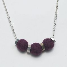 Felt Bead Jewelry Purple & Silver Upcycled Hardware by Tanith