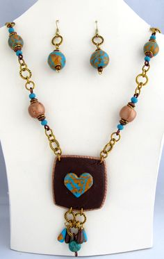 Earthy tone Necklace with Earring