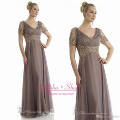 Wholesale Chiffon Mother Dress - Buy Plus Size 2014 Elegant Mother Of the Bride Dresses With V Neck Short Sleeves Chiffon Grey Champagne Ruffles Wedding Groom Gowns Suits, $110.27 | DHgate