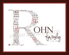 Custom Family Monogram Typography Art 11x14 by lesleygracedesigns, $35.00