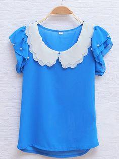 Blue Lapel Short Sleeve Ruffles Pearls Chiffon Shirt
