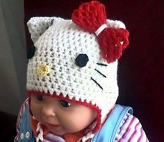 CROCHET PATTERN  Miss Kitty Hat, All sizes Included - Newborn to Adult (Pdf file)