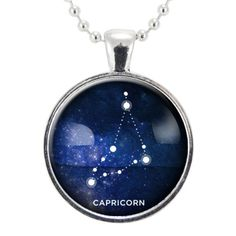 Capricorn Zodiac Necklace, Constellation Jewelry, Astrology Star Sign Pendant