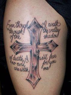 christian tattoos for women   Wording Cross Tattoo