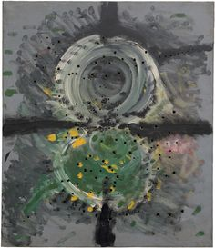 Concetto spaziale by Lucio Fontana by Guggenheim Museum  Size: 70x60 cm  Medium: Oil on canvas, grey, green, black, yellow, and pinkThe Solomon R. Guggenheim Foundation Gift, Fondazione Araldi Guinetti, 2011 © 2016 Artists Rights Society (ARS), New...