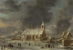 Jan Abrahamsz. Beerstraten, Gezicht op de kerk te Sloten in de winter, 1640 - 1666