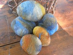 Felted Wool Rocks wool river rocks collectible rocks by WoolyTopic, $23.00