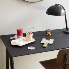 Shop online for Desks by HAY at AMARA. Guest Bedroom Office, Oversized Furniture, Design Tisch, Black Stains, Framing Materials, Solid Oak, Home Office, Home Accessories, Table Lamp