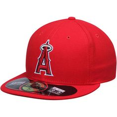 18313a3bc67 Los Angeles Angels New Era AC On-Field 59FIFTY Game Performance Fitted Hat  - Red