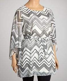 Take a look at this White & Black Zigzag Dolman Top - Plus by R Rouge on #zulily today!