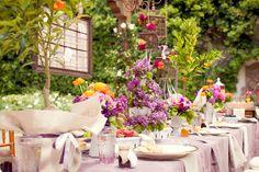 bridal shower rehearsal brunch franciscan gardens vintage rustic french purple orange centerpieces