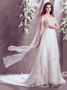 LAN TING BRIDE A-line Wedding Dress Sparkle & Shine Court Train Off-the-shoulder Chiffon with Beading - USD $149.99 ! HOT Product! A hot product at an incredible low price is now on sale! Come check it out along with other items like this. Get great discounts, earn Rewards and much more each time you shop with us!