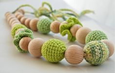 lime and mint Crochet necklace Teething necklace by nihamaj, $25.00