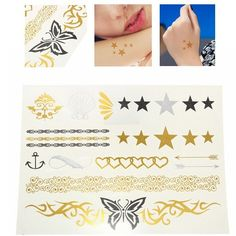 Gold Metallic Butterfly Star Temporary Tattoos Body Art Sticker
