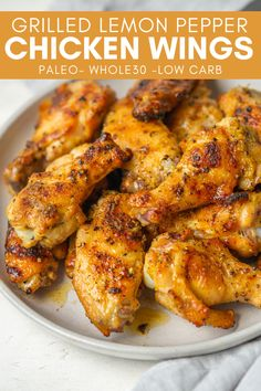 Make these Grilled Lemon Pepper Chicken Wings for a healthy grilled appetizer. These grilled wings are bursting with flavor and made with simple Whole30 and paleo-friendly ingredients. Grilled Lemon Pepper Chicken, Lemon Pepper Chicken Wings, Quick Chicken Curry, Healthy Baked Chicken, Summer Grilling Recipes, Healthy Grilling, Whole 30 Snacks, Whole 30 Recipes, Grilled Wings