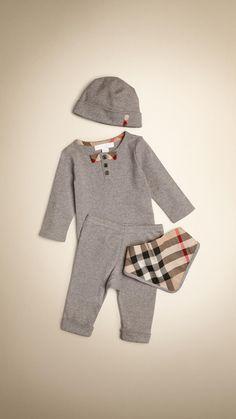Set cadeau pour bébé en coton composé de quatre pièces | Burberry