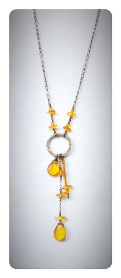Amber and Brass Chain Necklace   Solar by ChakraBootyJewelry